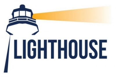 Outline of a Lighthouse with a beam of light over the work Lighthouse in all capital letters