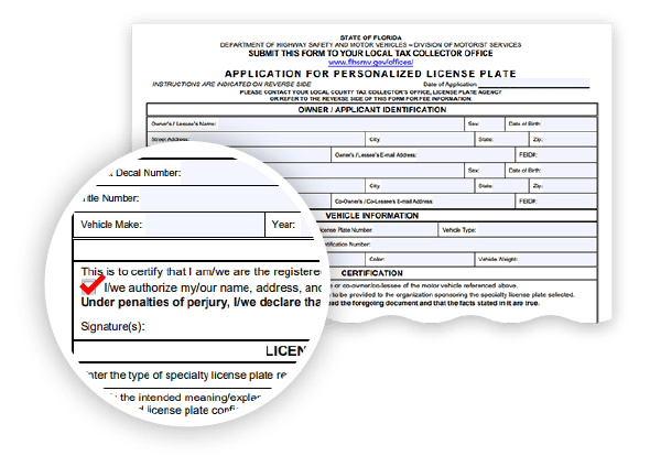 The registration form for the State of Florida