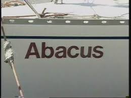 The word Abacus appears in large red letters on the side of Geoff Hilton-Barber's white yacht which he sailed across the Indian Ocean, solo.