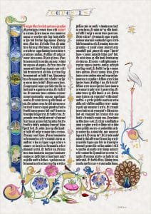 Andrew's extremely intricate, highly colorful drawings of natural scenes, flowers and birds surround two columns of Old German text of the first page of Genesis as published by Gutenbergumns of